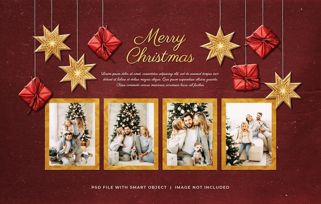 Рождественское поздравление с фотобумагой и пленкой, макет moodboard