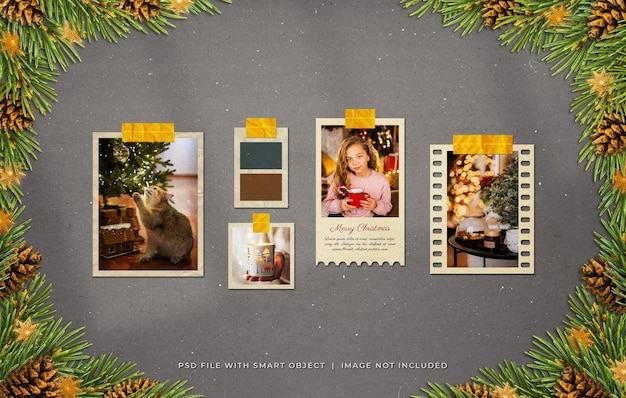 Рождественские поздравления фоторамки из бумаги moodboard mockup