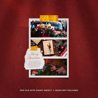Рождественское поздравление в социальных сетях, макет рамки для фотобумаги и пленки