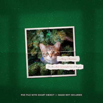 Рождественское поздравление в социальных сетях, макет рамки из фотобумаги