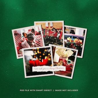 Рождественское поздравление в соцсетях post photo paper frames moodboard mockup