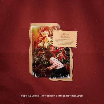 Рождественское поздравление в социальных сетях, разорванное фото polarid mockup