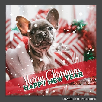 Christmas and happy new year 2019 photo mockup and instagram post template