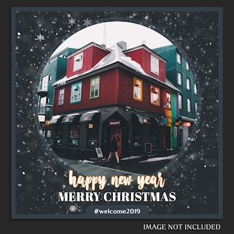 Christmas and happy new year 2019 photo mockup and instagram post