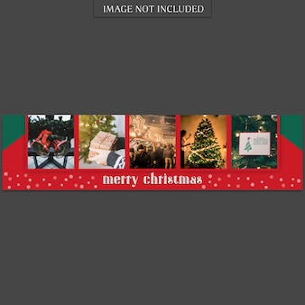Christmas and happy new year banner template and photo mockup Premium Psd