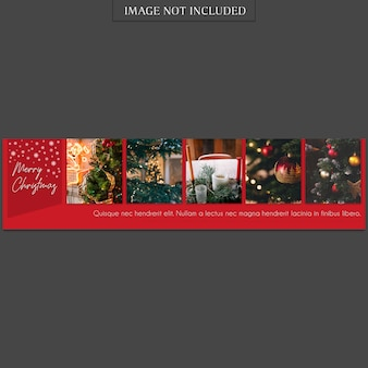 Christmas and happy new year banner template and photo mockup