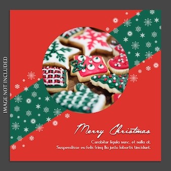 Christmas and happy new year photo mockup and instagram post template