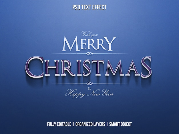 Christmas and happy new year text effect