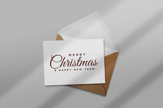 Christmas holiday greeting card design mockup envelope  with shadow
