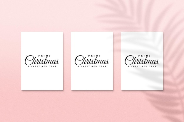 Christmas holiday greeting card design mockup psd with palm leaves shadow