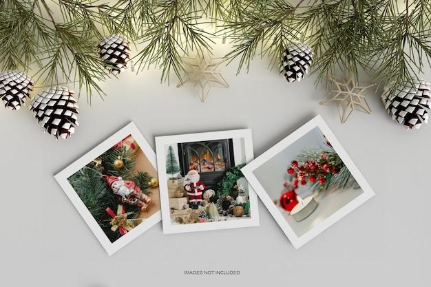 Рождественский праздник поздравительный дизайн с макетом из соснового листа