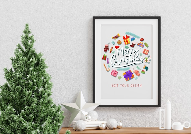 Christmas holiday greeting frame design