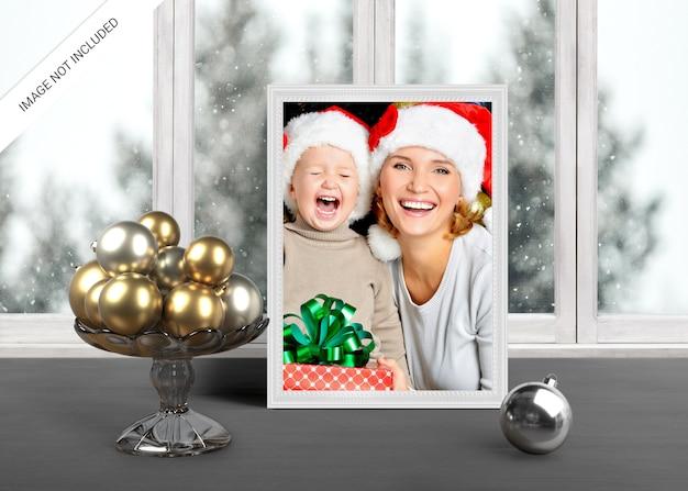 Рождественский праздник приветствие фоторамка макет
