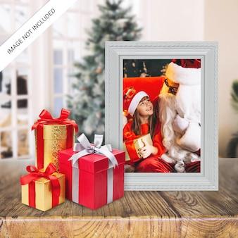 Christmas holiday greeting photo frame mockup