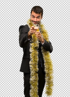 Christmas holidays event. man with champagne celebrating new year 2019