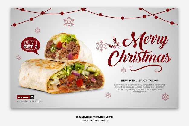 Christmas horizontal web banner template for restaurant fastfood menu