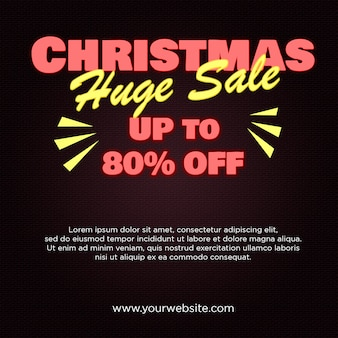 Christmas huge sale banner 80% off in neon style design