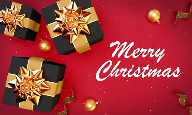 Рождественские иллюстрации на красном фоне в 3d-рендеринге