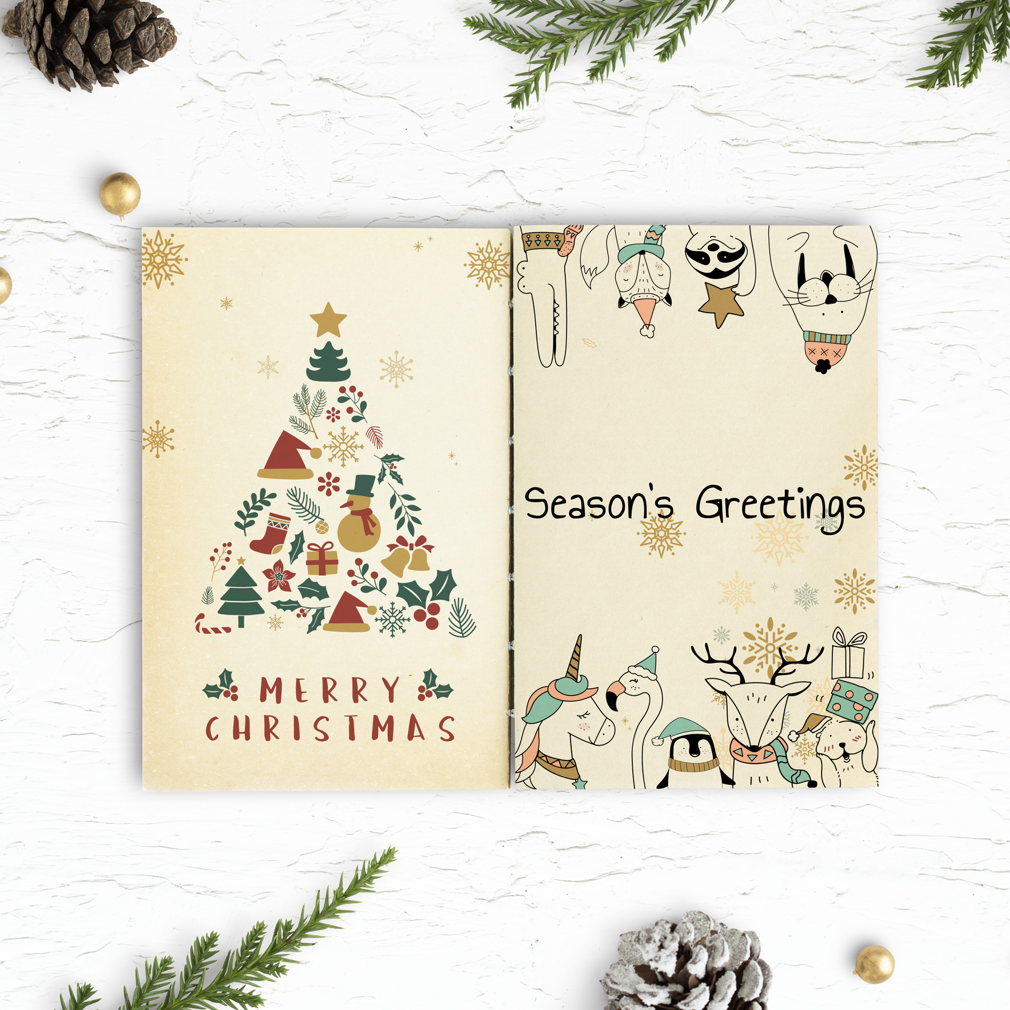 Christmas illustrations in a notebook mockup