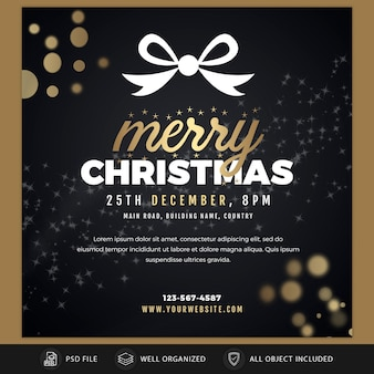 Christmas instagram post card or banner template