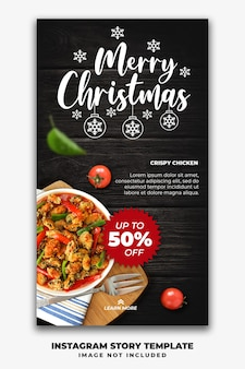 クリスマスinstagramストーリーレストランフードメニューのソーシャルメディア投稿