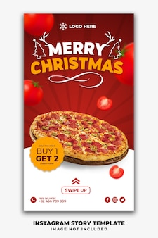 Christmas instagram stories or social media post restaurant template
