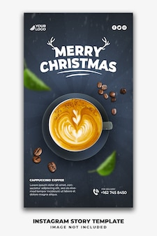 Christmas instagram stories template for restaurant food menu drink coffee