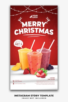 Christmas instagram stories template for restaurant food menu drink juice