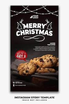 Christmas instagram stories template for restaurant food menu