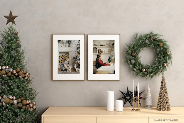 수평 프레임으로 조롱하는 크리스마스 인테리어 포스터