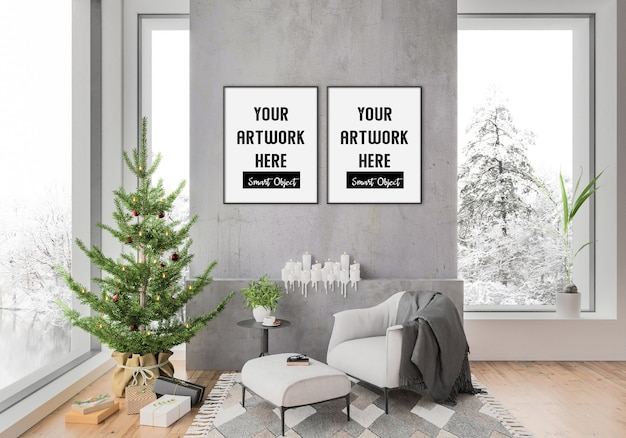 Christmas interior with double frames mockup