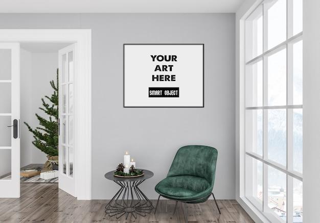 Christmas interior with frame mockup