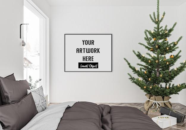 Christmas interior with horizontal frame mockup