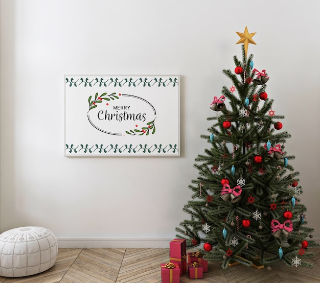 Christmas interior with mockup poster frame
