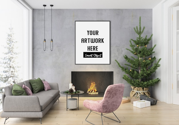 Christmas interior with vertical frame mockup