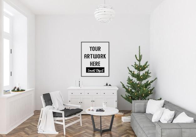 Рождественский интерьер с макетом вертикальной рамы