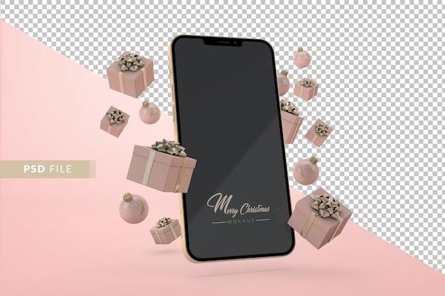 현대 전화와 선물 상자가 떠 있는 크리스마스 인터넷 쇼핑 개념. 3d 렌더링