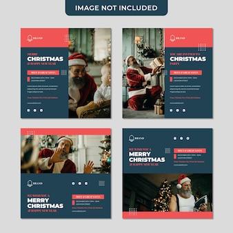 크리스마스 초대장은 산타 소셜 미디어 게시물 컬렉션 템플릿을 만나고 인사합니다.