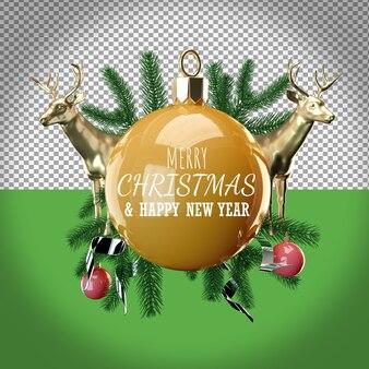 크리스마스 트리와 deers 크리스마스 고립 된 그림