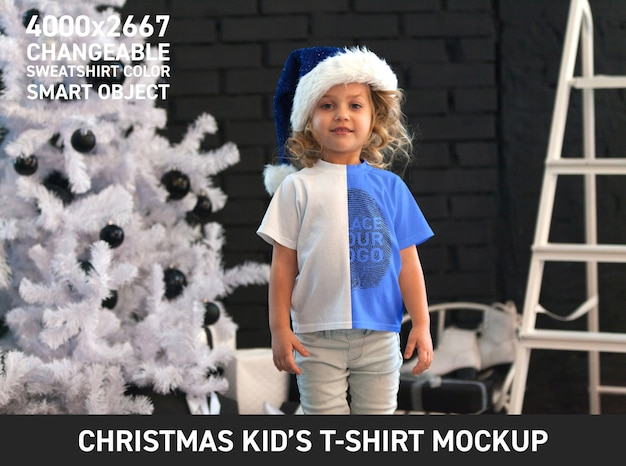 Christmas kid t shirt mock up