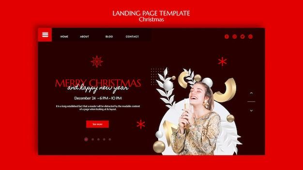 Рождественский дизайн шаблона целевой страницы