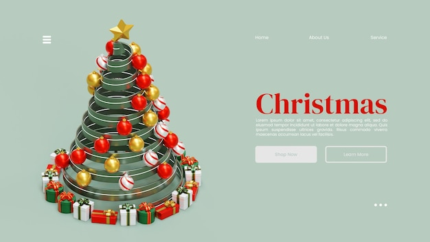 Рождественский шаблон целевой страницы с деревом 3d визуализация