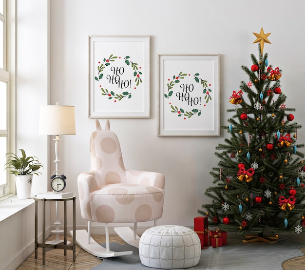 Christmas living room with mockup poster frame and christmas tree