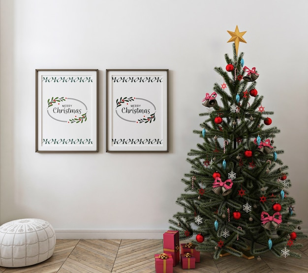 Christmas living room with mockup poster frame