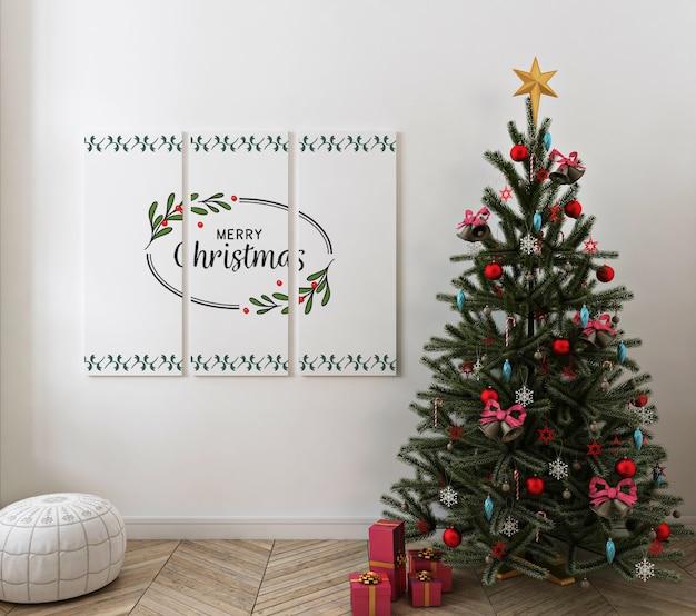 Christmas living room with mockup poster