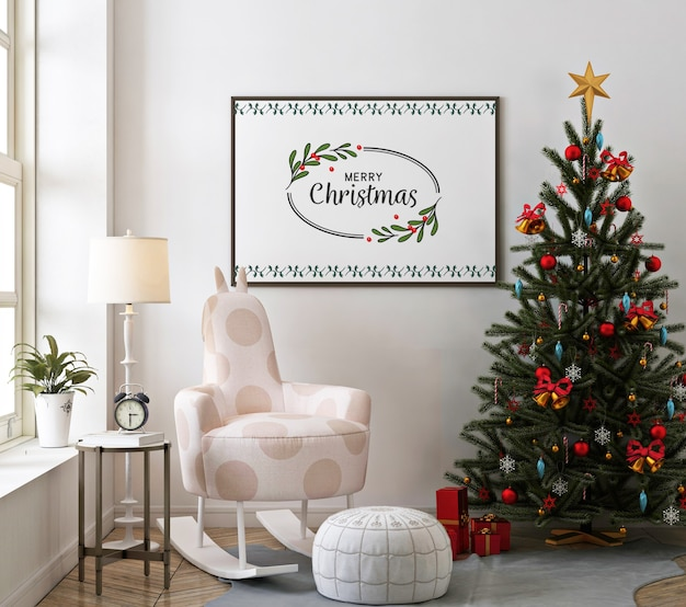Christmas living room with poster frame mockup and rocking chair