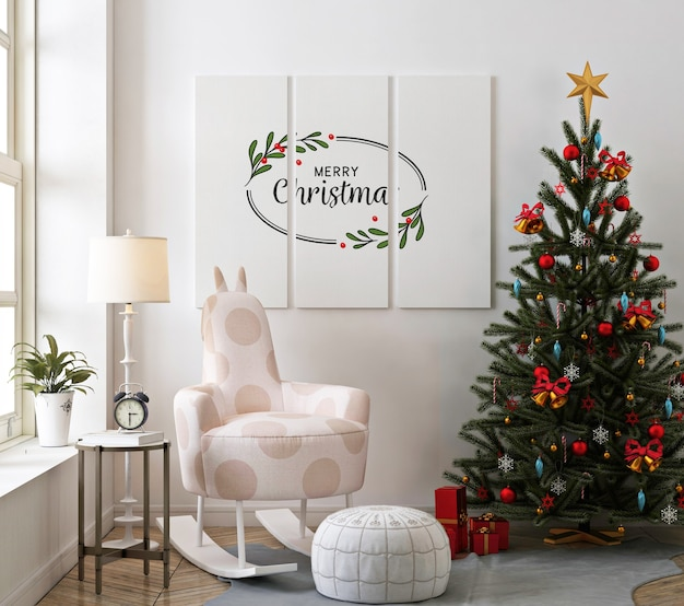 Christmas living room with poster mockup and rocking chair