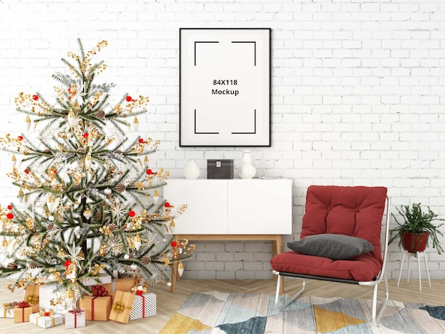 Christmas living room with poster mockup