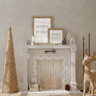 Рождественская гостиная с рамкой для макета плаката и елкой