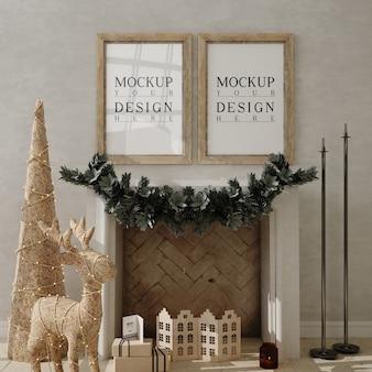 Christmas livingroom with mockup poster frame and christmas tree
